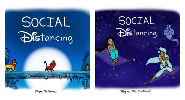 """Artist Features Disney Characters Practicing """"Social DIStancing"""" 1"""