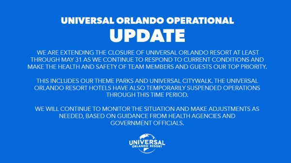 Universal Orlando Releases Statement to Extend Closure 1
