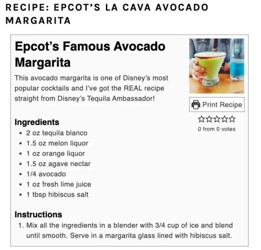 Epcot's La Cava's Avocado Margarita Recipe! 2
