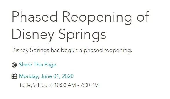 Disney Springs Updates Operating Hours 1