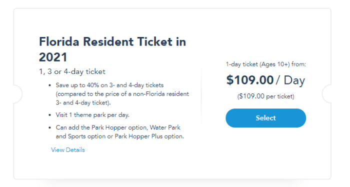 2021 Disney World Standard Theme Park & Florida Resident Tickets go on sale TODAY