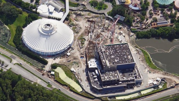 Aerial View of Tron Coaster's Construction in Magic Kingdom 1