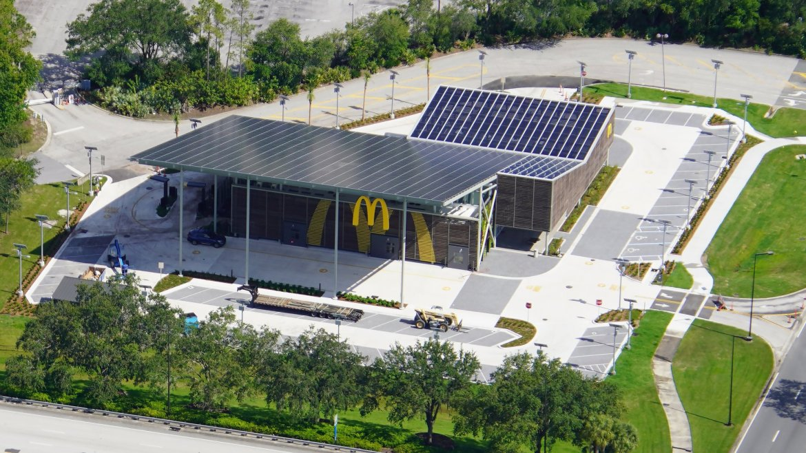 Aerial view of McDonald's near Disney's All-Star Resort