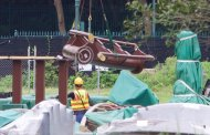Work continues on Wandering Oaken's Sliding Sleighs Coaster