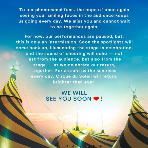 Cirque du Soleil Files for Bankruptcy due to COVID-19 1