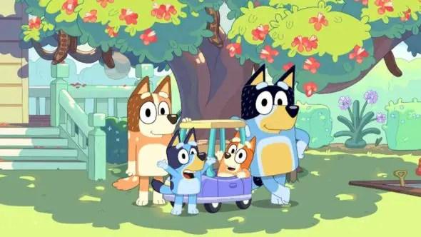 cartoon blue heeler dog family