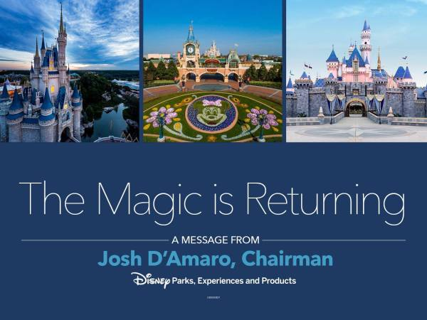 Chairman of Disney Parks Experiences and Products Josh D'Amaro issues a statement on reopening of Disneyland josh d'amaro