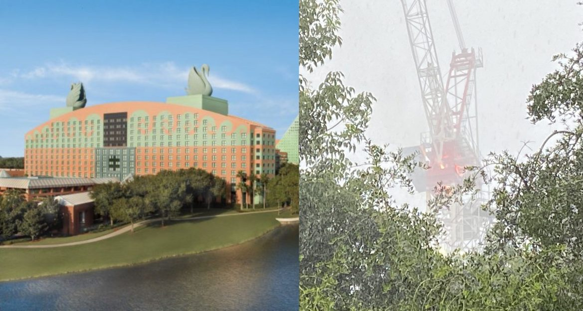 Construction Crane catches on fire at Swan & Dolphin Resort