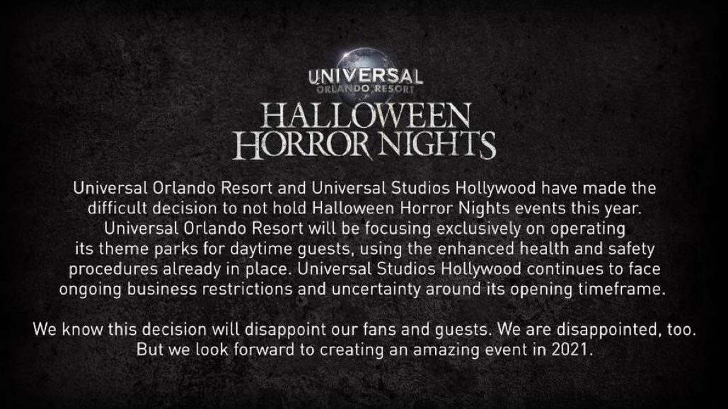 Halloween Horror Nights Cancelled for 2020 at Universal Studios Orlando & Hollywood