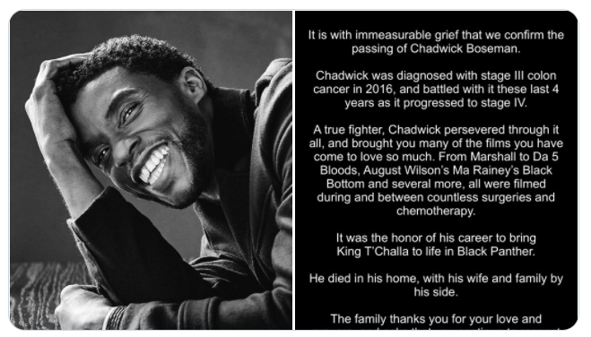 The family of Chadwick Boseman Issues Statement After His Death