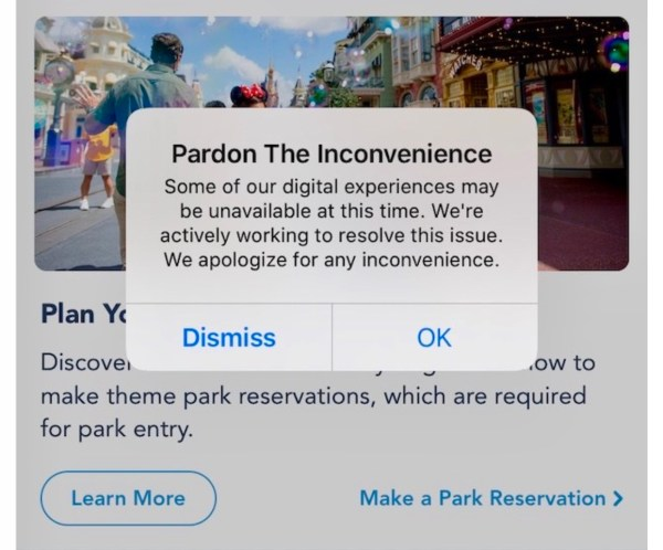 Rise of Resistance and Disney World websites experiencing issues due to Nationwide Internet Outage 1