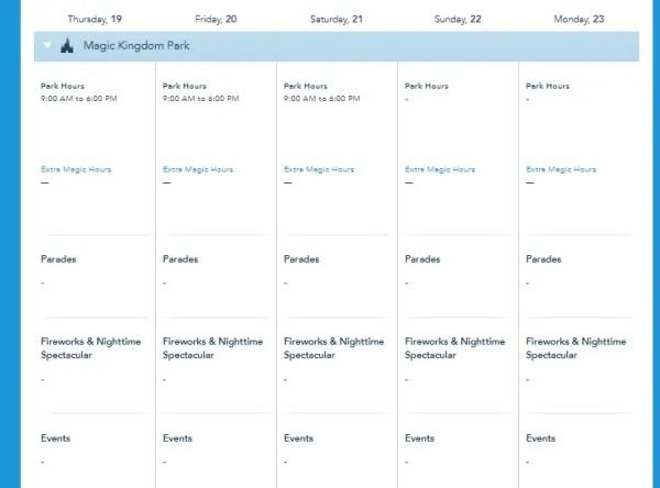Disney World Releases park hours for mid November 1