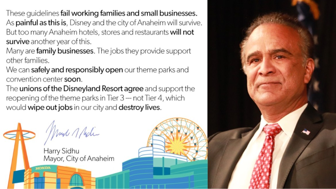 Anaheim Mayor releases a statement regarding theme park reopening guidelines