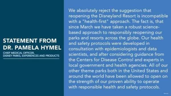 Statement from Disney's Chief Medical Officer regarding the reopening of Disneyland 3