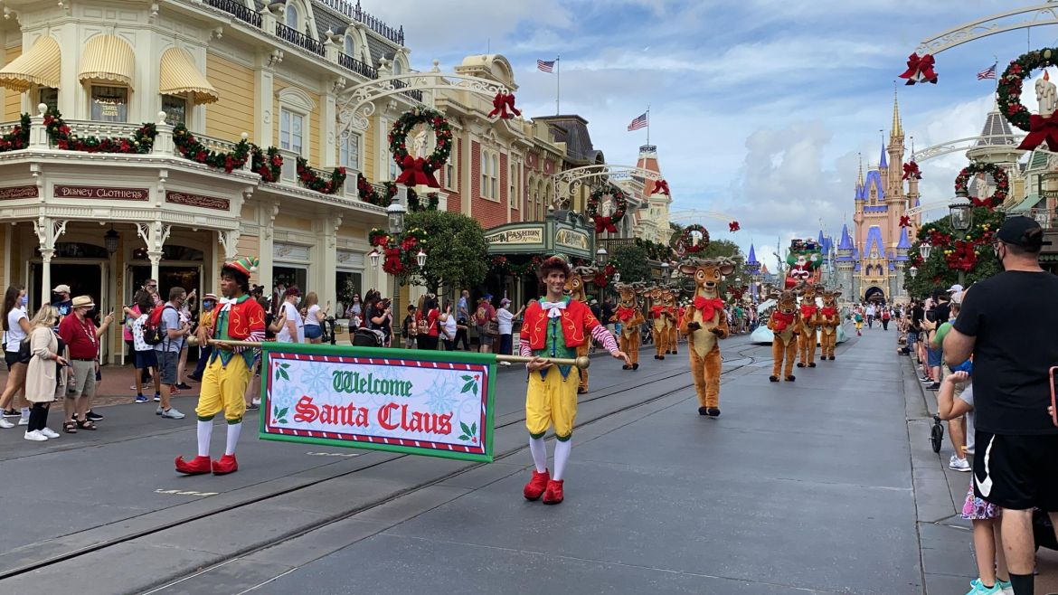 Here comes Santa Clause right down Main Street USA
