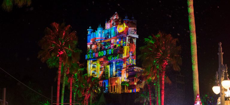 Holiday Projections Return to Tower of Terror in Hollywood Studios
