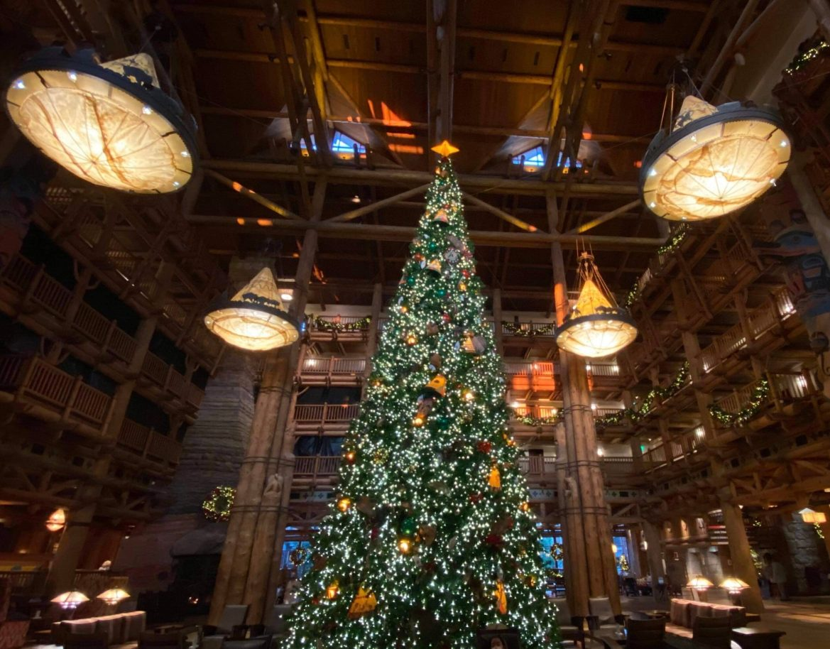 Disney's Wilderness Lodge is decorated for Christmas