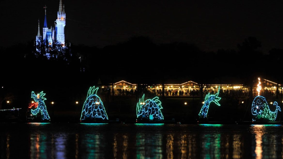 Electrical Water Pageant Barges Seen on the Water at Magic Kingdom