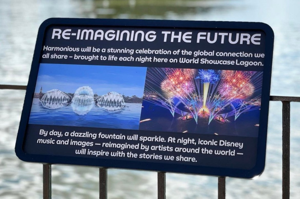 Signage posted for Epcot's Harmonious