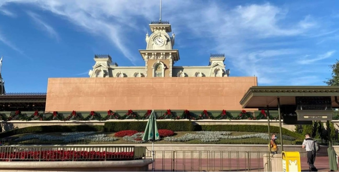 Scrim covering Train Station Now in the Magic Kingdom