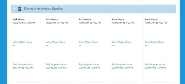 Park Hopper Hours now showing on Disney World Calendar 4