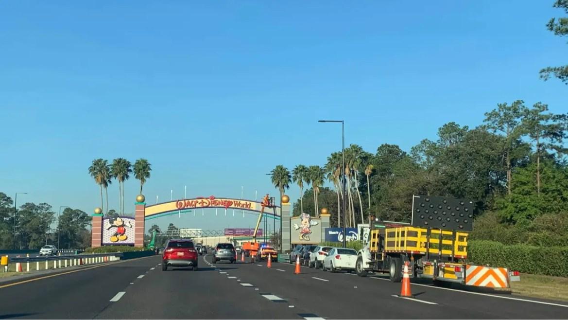 Osceola Parkway Disney World Entrance Sign refurbisment is underway