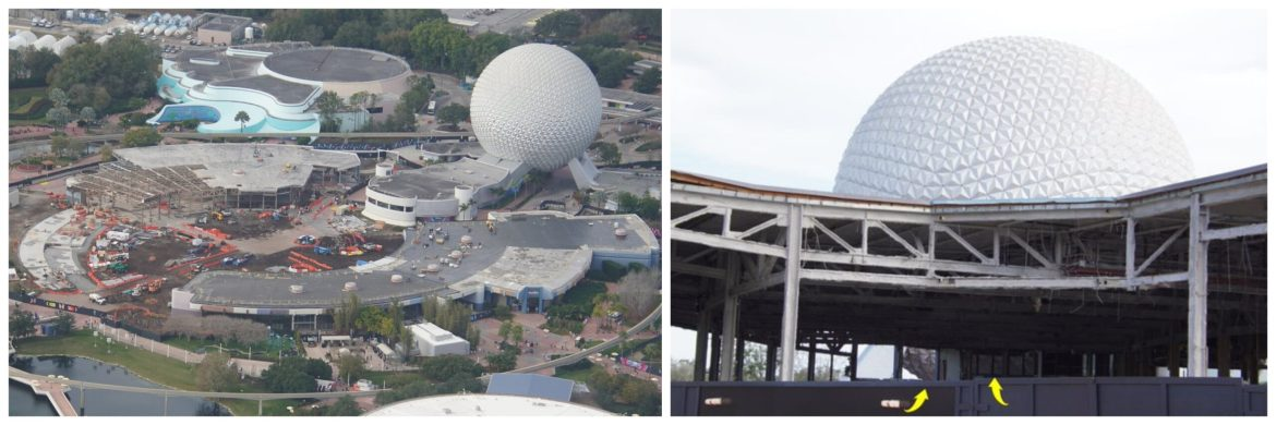 Aerial look at the construction in Epcot's Innoventions West