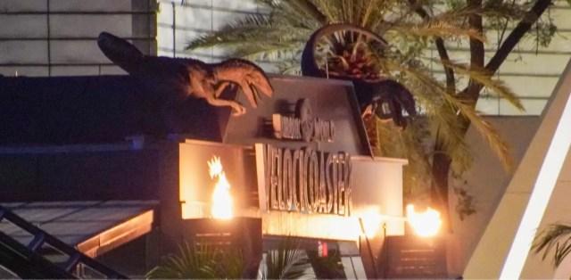 VelociCoaster flames at ride entrance