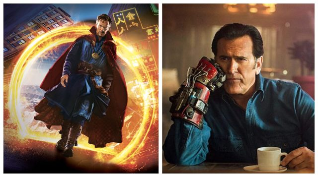Doctor Strange (left) Bruce Campbell in Ash vs. Evil Dead (right)