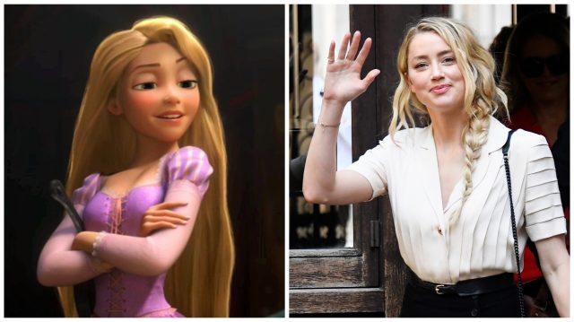 Rapunzel in Tangled and Amber Heard arriving to the High Courts in London