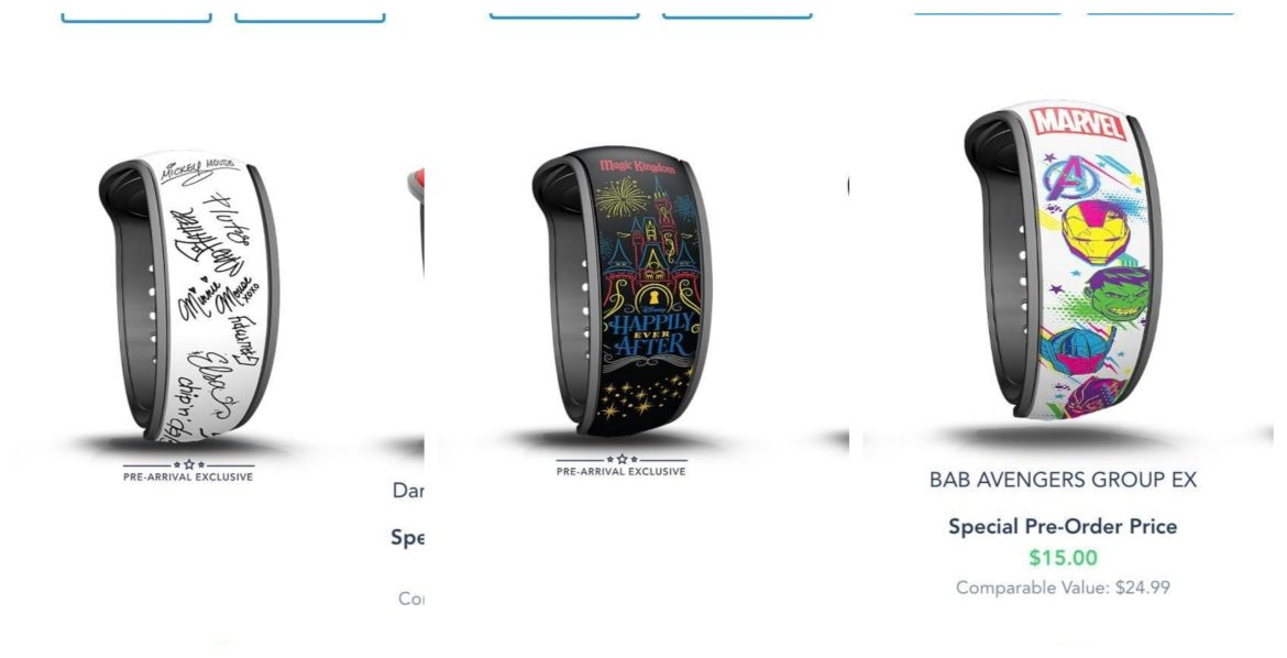 New Pre-Arrival Magic Band Designs on Disney World Website
