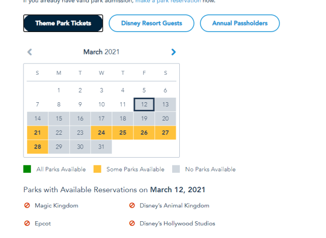 Disney World Theme Park Reservations completely booked through March 20th 2