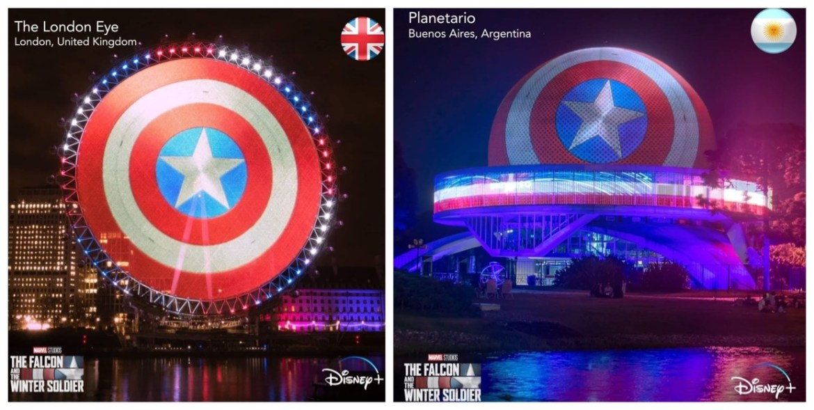 """Captain America's Shield Displayed around the Globe for """"The Falcon & Winter Soldier"""" premiere"""