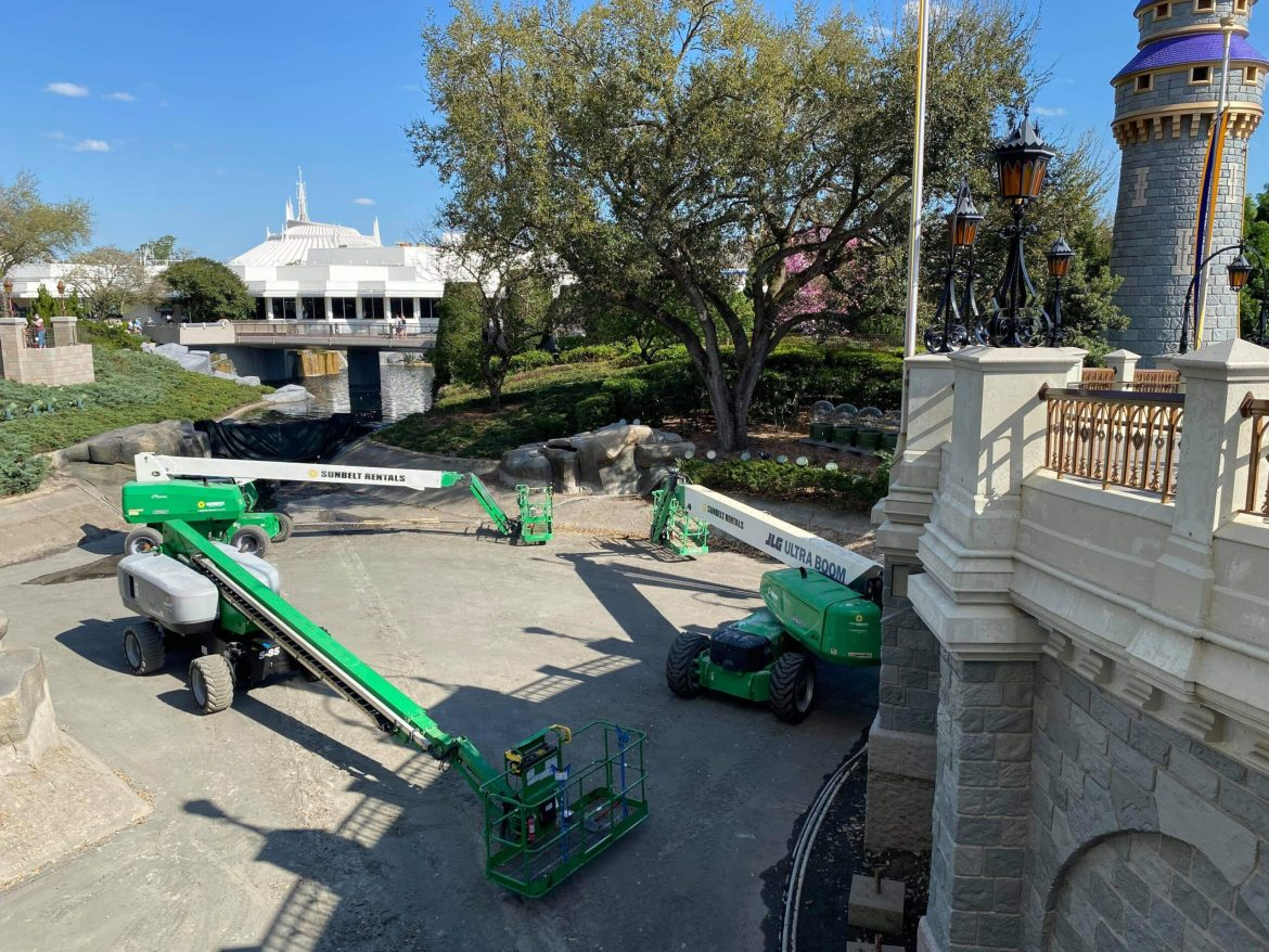 Moat drained around Cinderella Castle in the Magic Kingdom