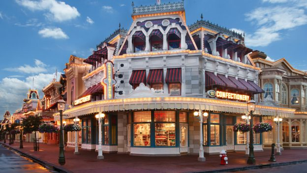New look for Main Street Confectionery for Disney World's 50th Anniversary