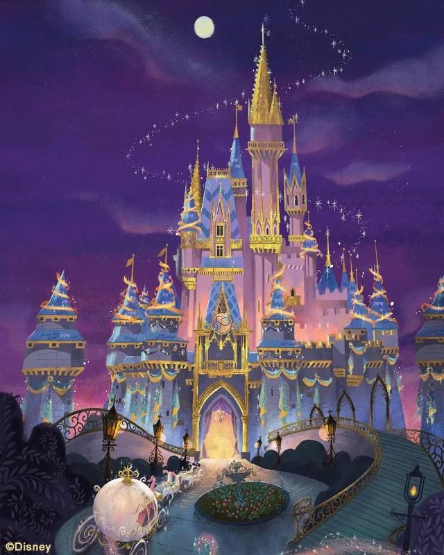 New Mary Blair-Inspired 50th Anniversary Cinderella Castle Art 2