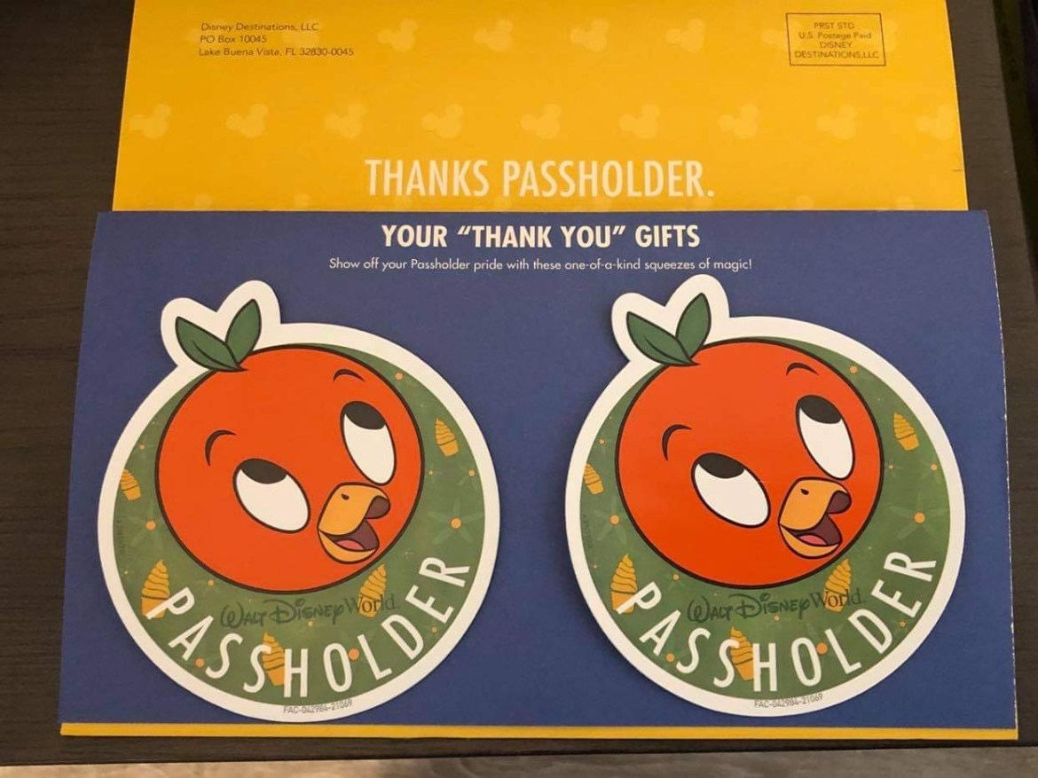 Disney World Annual Passholders receiving Orange Bird Magnets by mail