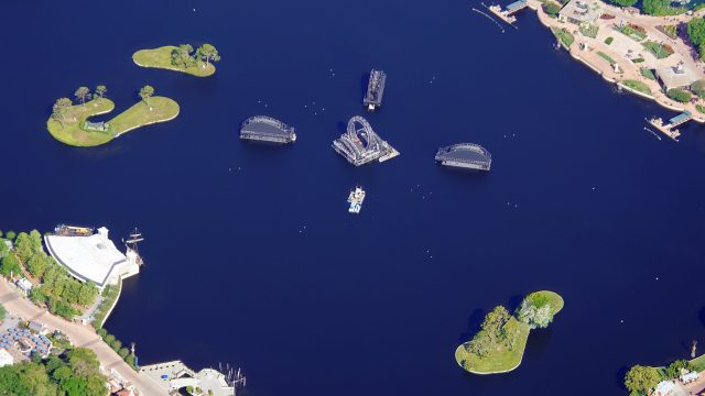 Harmonious barge aerial view