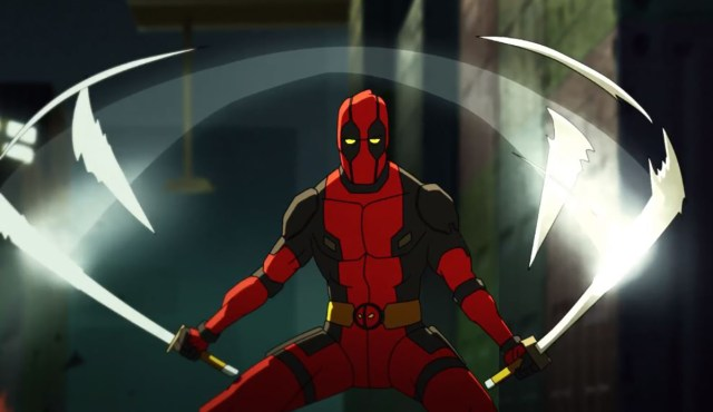 Deadpool in the animated series wielding his katana's
