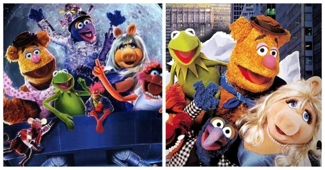 "The Muppets in ""Muppets in Space"" (left) and in ""The Muppets Take Manhattan"" (right)"