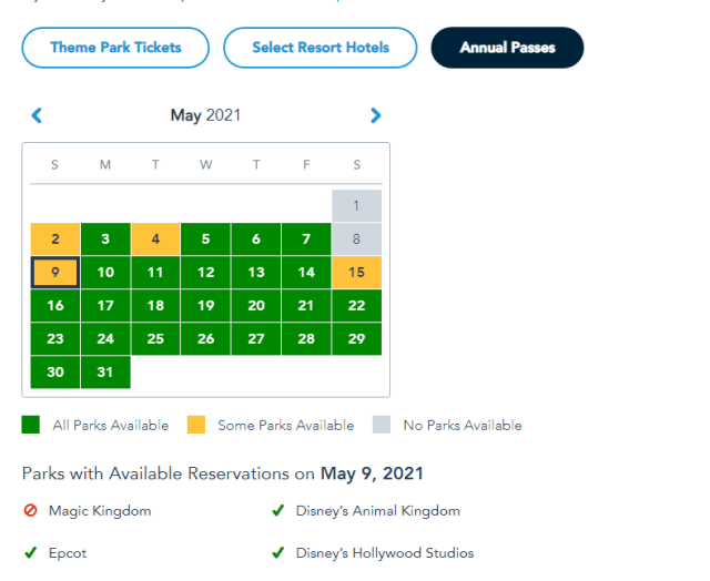 Magic Kingdom and Hollywood Studios already booked for Mother's Day 3
