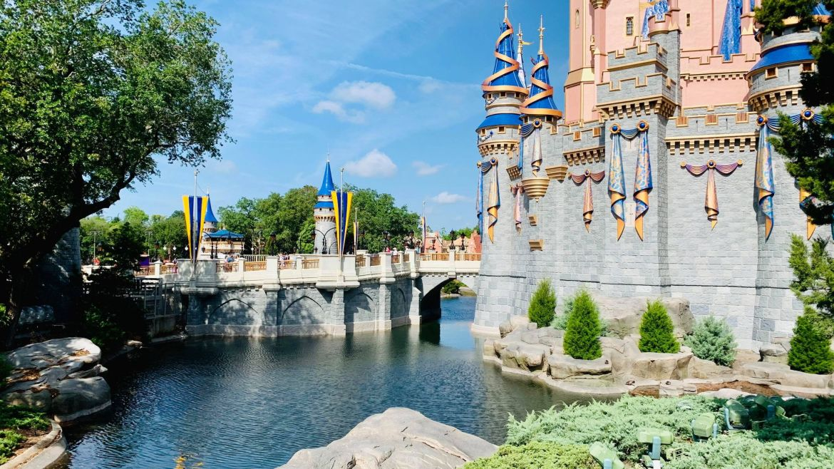 Cinderella Castle Moat being refilled as work completes