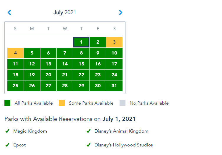 More Disney World Park Pass Reservations open up for July 1st! 4