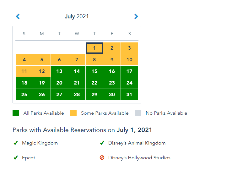 More Disney World Park Pass Reservations open up for July 1st! 2
