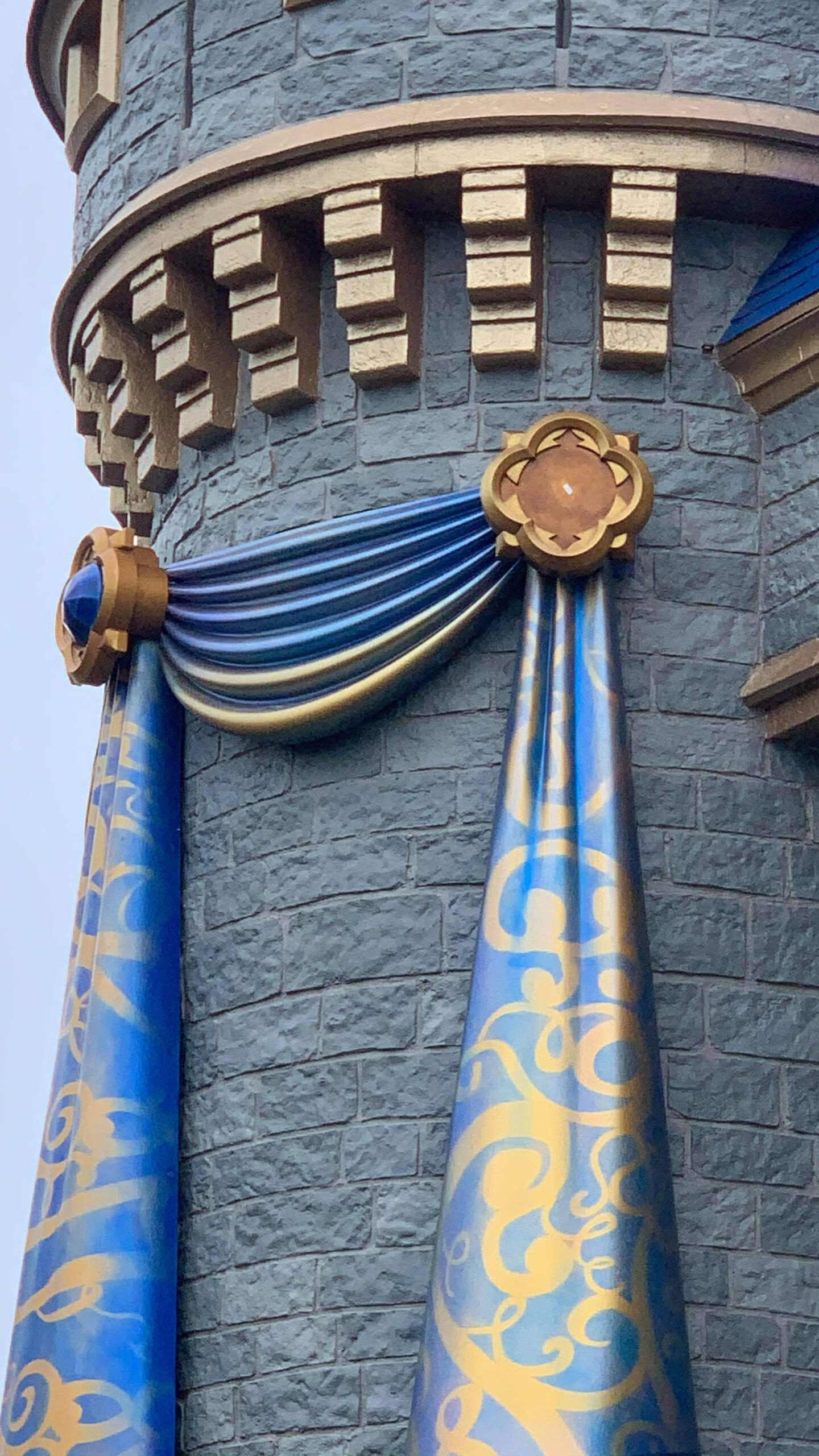 One of the 50th anniversary Cinderella Castle decorations fall off 4