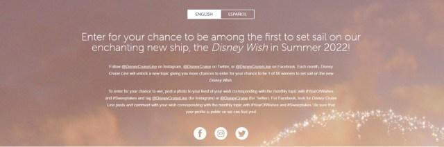 Disney Cruise Line Year of Wishes Sweepstakes 2