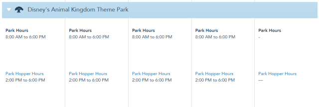 Disney World Theme Park Hours released through August 21st 4