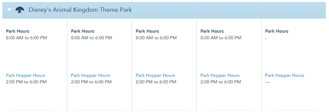 Disney World Theme Park Hours released through August 28th 4