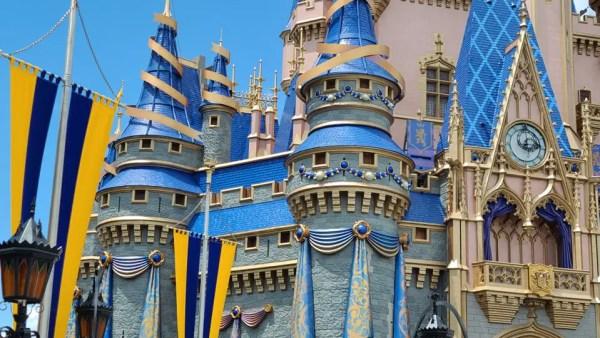 Decorations for Walt Disney World's 50th Anniversary Celebration on Cinderella Castle