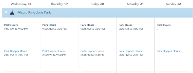 Disney World Theme Park Hours released through August 21st 1